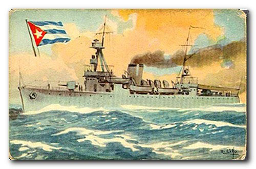 The Cuban Navy: Cruiser CUBA. Old postcard.