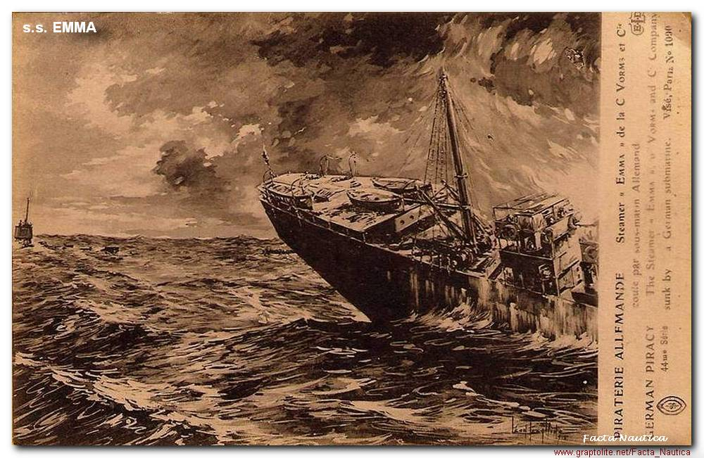 The French steamer s.s. EMMA sunk by U-boat U-37.