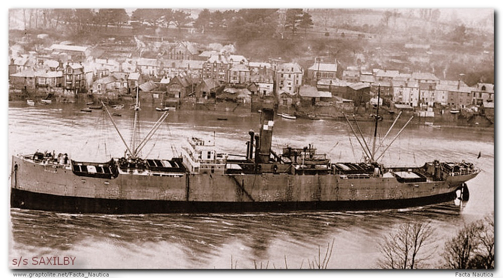 The British cargo vessel SS SAXILBY. Damaged by the u-boat U-63 1. Flotilla Mittelmeer.  She went missing in the north Atlantic onNovember 15, 1933.