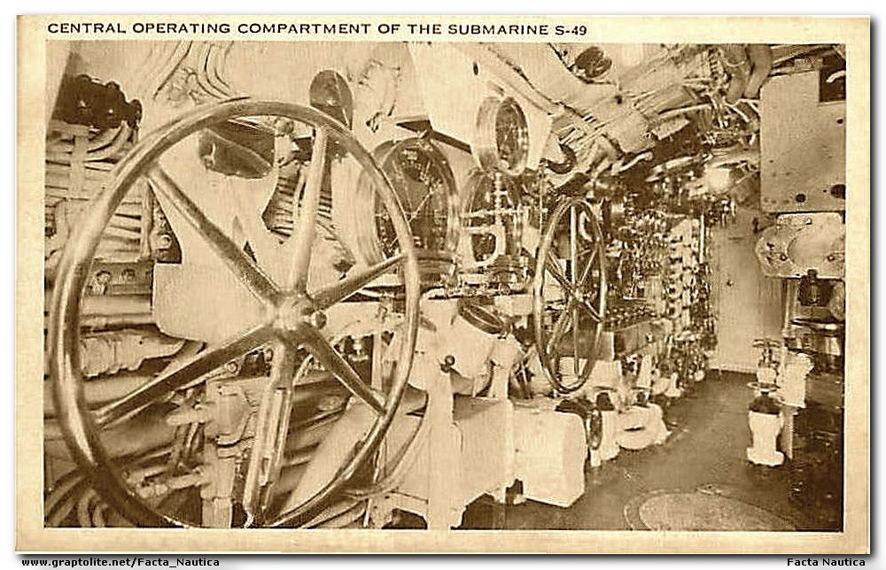 Submarines: Central operating compartment of the USS S-49.