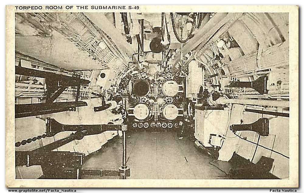 Submarines: Torpedo room of the submarine USS S-49.