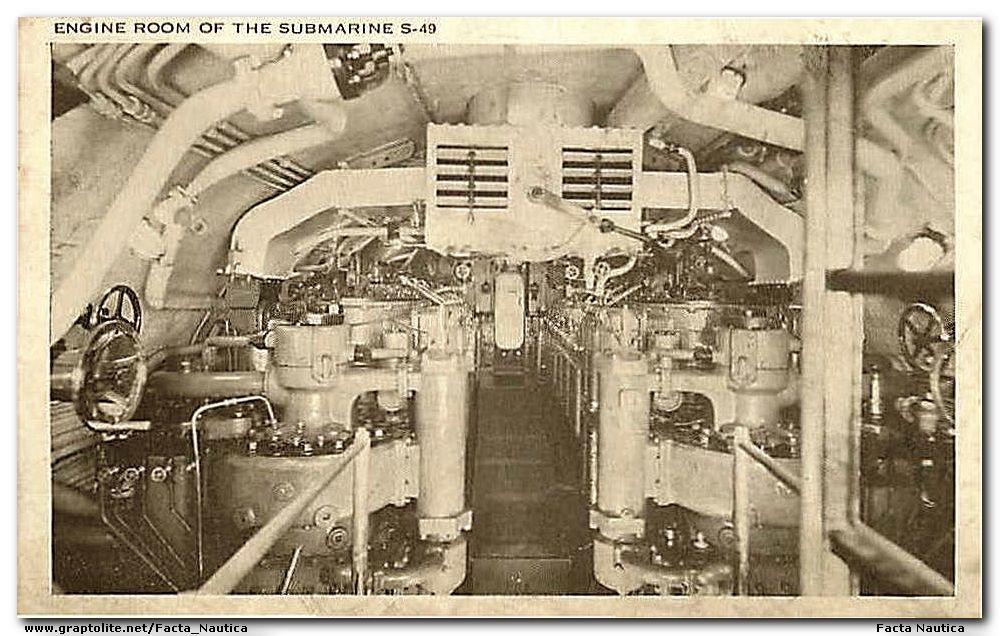 Submarines: Engine room of the submareine USS S-49.