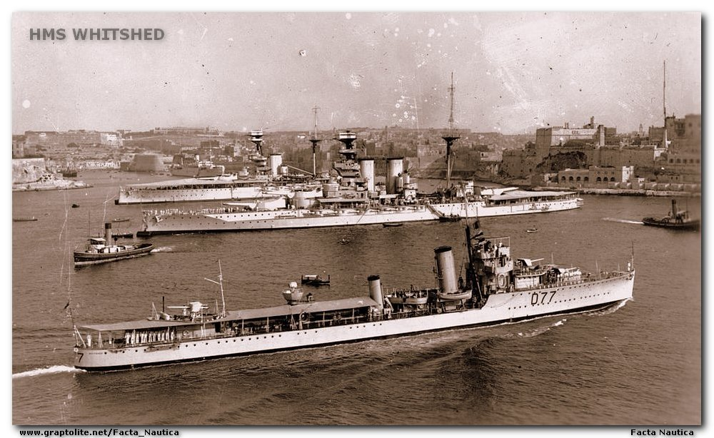 Malta, destroyer HMS WHITSHED, battleships