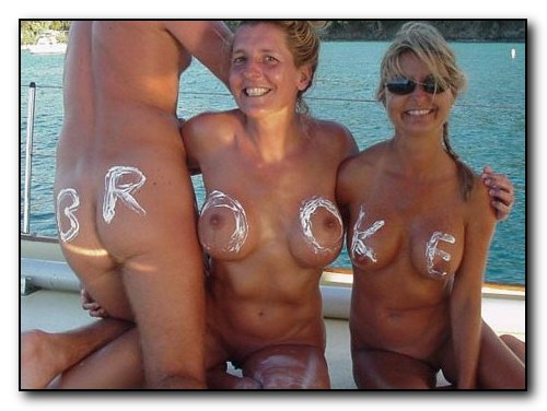 Three naked women. Yacht.
