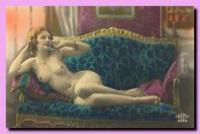Vintage erotic postcards in colour.