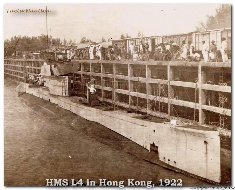 The British submarine HMS L4 in Hong Kong,